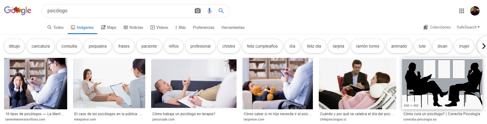 """Búsqueda término """"psicólogo"""" en Google."""
