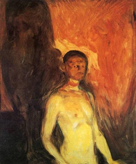 Autorretrato en el infierno, E. Munch (1903)
