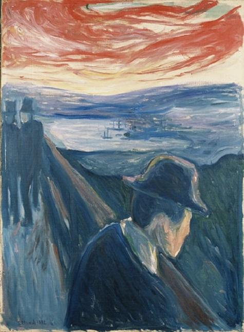 Estado de ánimo enfermo y desesperación en la puesta de sol, Edvard Munch. (1892)