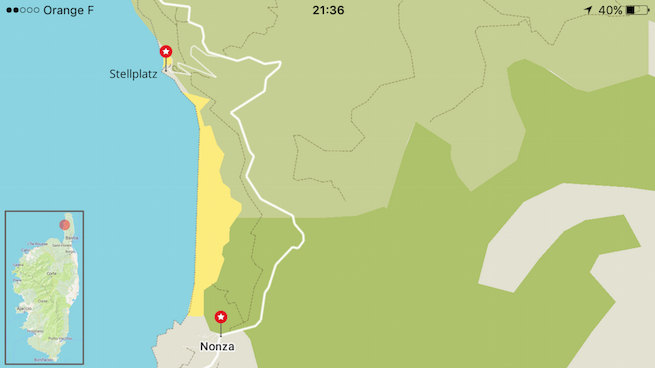 Campen auf Korsika Karte Nonza