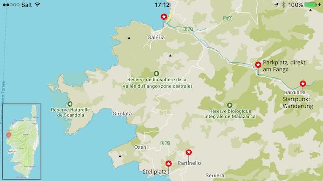 VW Bus auf Korsika Karte Fangotal