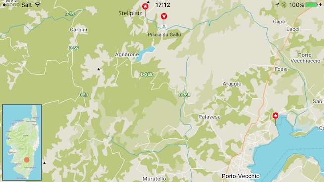 VW Bus auf Korsika Karte Piscia du Gallu