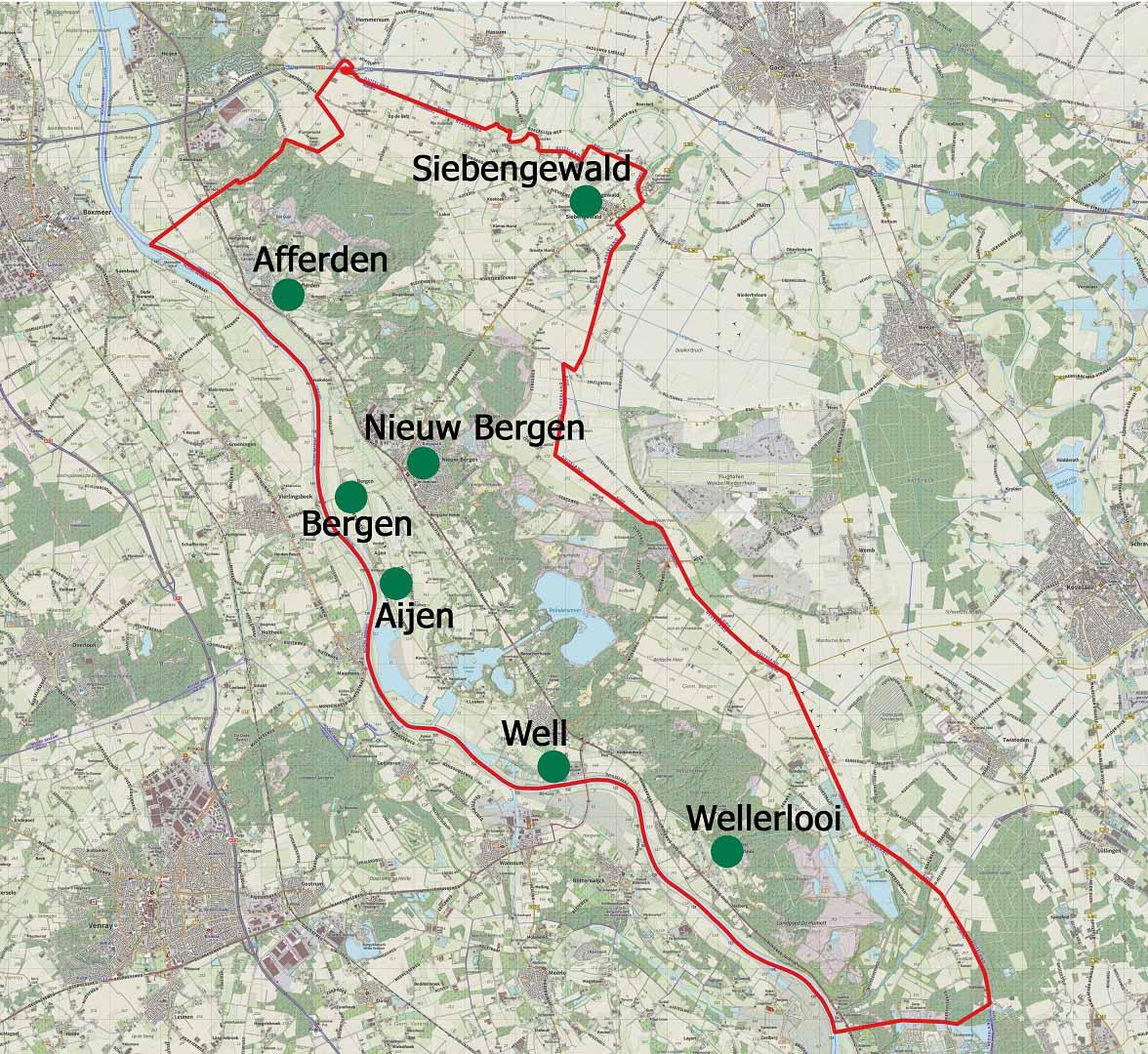 Regio-Maasduinen-Noord-Limburg grenzen gemeente Bergen