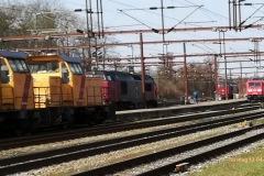Opstillede lokomotiver i stationens nordende