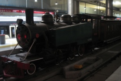 Statioinen rummer også et opstillet damplokomotiv og nogle vogne. De kørte på det oprindelige 914)mm spor (i dag kører jernbanen på 1000 mm sporvidde)