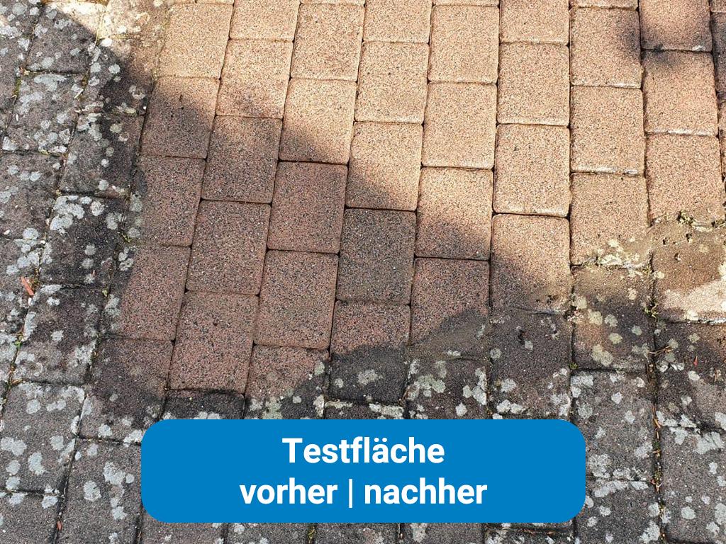 Pflasterreinigung Testfläche in Frankfurt