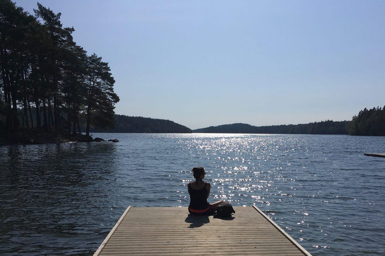 Uitzicht op het Stora Delsjön meer in Göteborg