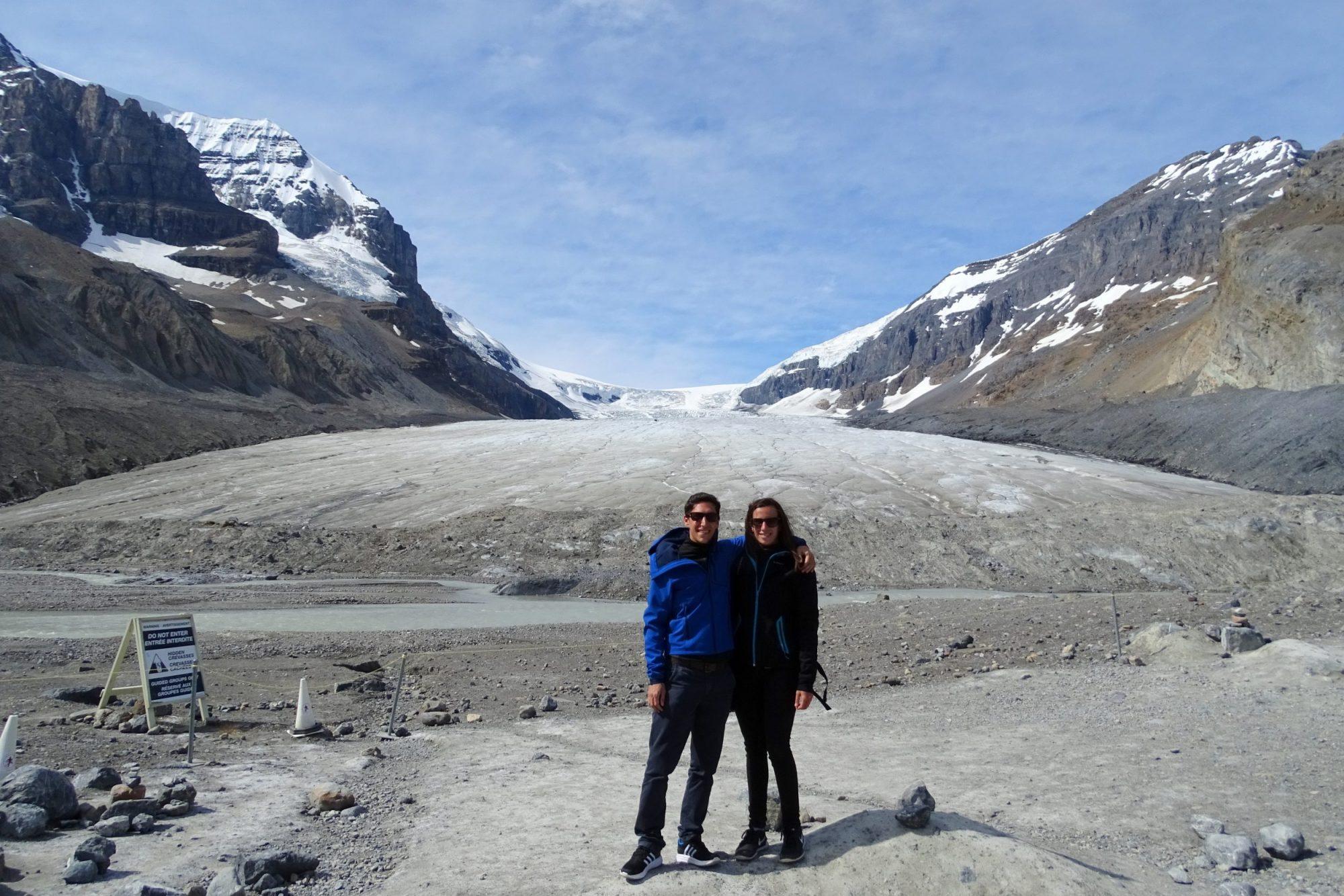 Aan de voet van de Athabasca-gletsjer