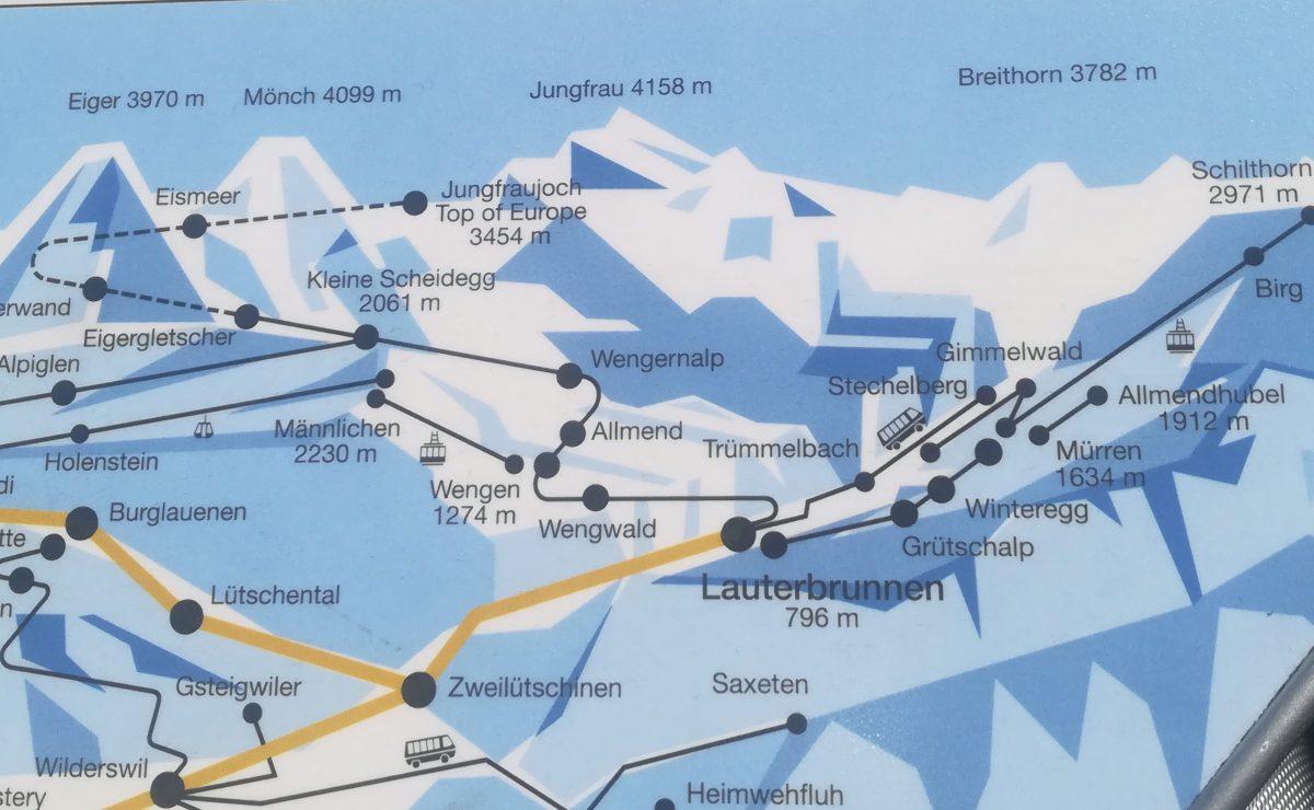 Kort over de forskellige bjerge og landsbyer