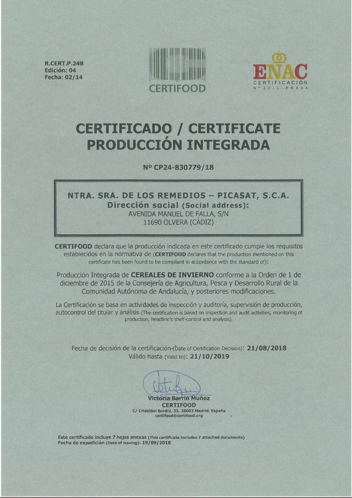Obtención Certificación API Cereales de Invierno