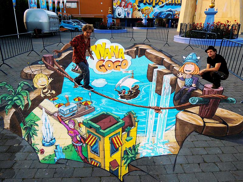 3D Streetpainting at Plopsaland, Belgium.