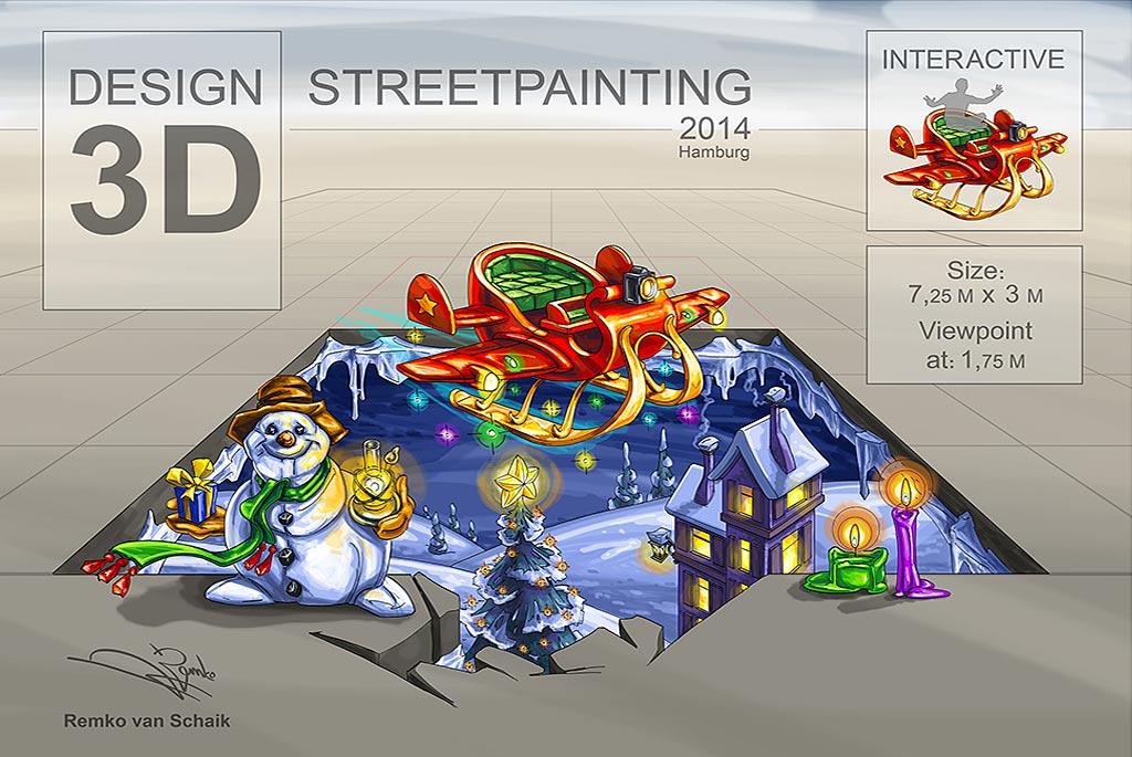 3D Streetpainting Sketch by Remko van Schaik