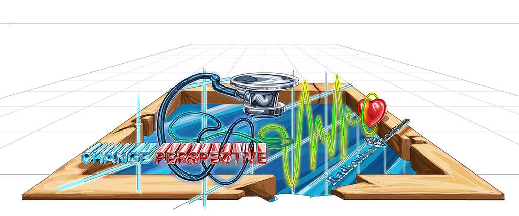 3D Streetpainting Sketch designed by Remko van Schaik