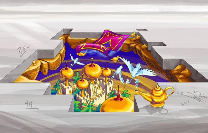 3D Sketch Flying Carpet for Bucuresti Mall