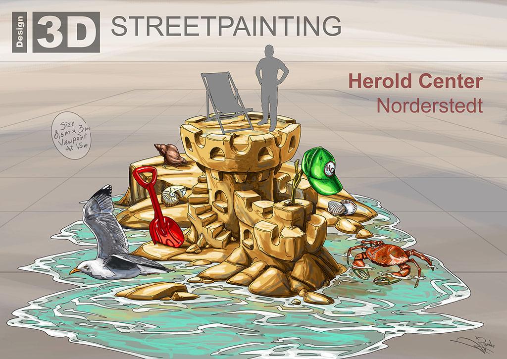 """3D Streetpainting Sketch """"Sandcastle"""" designed by Remko van Schaik"""