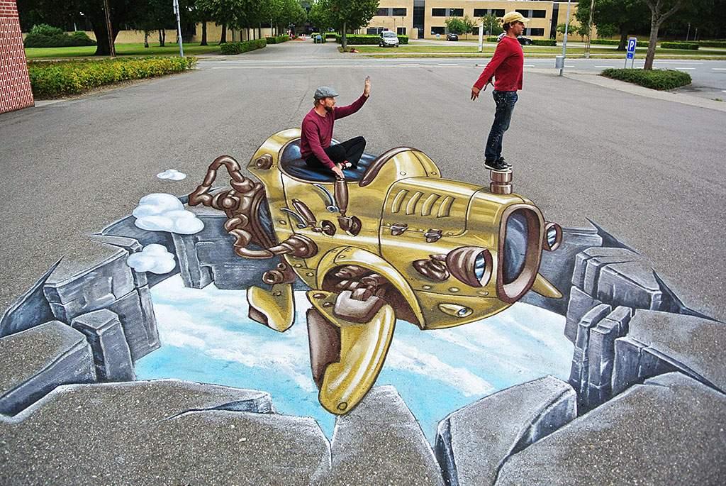 3d-streetpainting-3d-flying-rod-remko-van-schaik-3d-street-art-grindsted-danmark-1