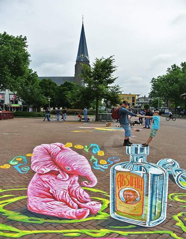 3D Streetpainting 'Absinth' Worldstreetpainting Festival