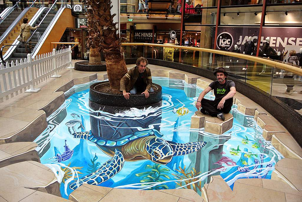 """3D Streetpainting """"3D Tropical Turtle"""""""