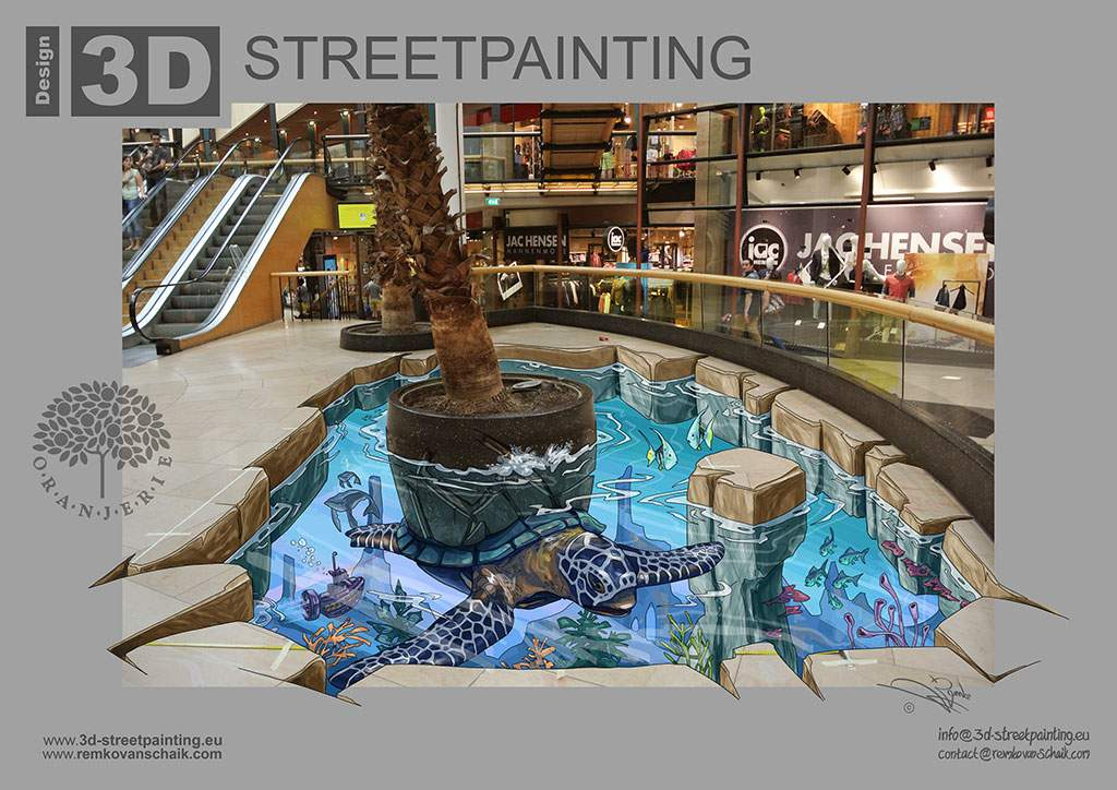 "3D Streetpainting Sketch ""3D Tropical Turtle"" designed by Remko van Schaik for Shoppingcentre Oranjerie, Apeldoorn, The Netherlands."