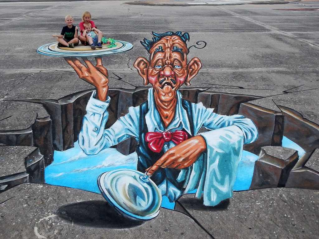 3d-streetpainting-3d-waiter-ober-remko-van-schaik-3d-sarasota-chalk-festival-venice-florida-3