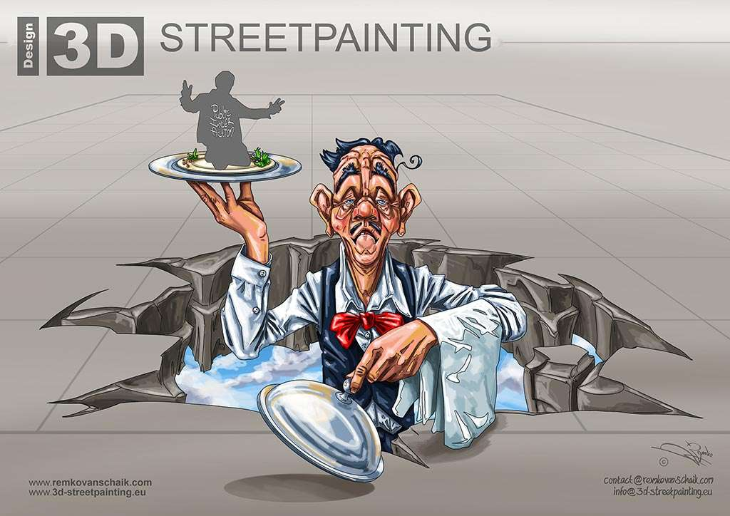 3D Streetpainting 3D Waiter made by Remko van Schaik Sarasota Chalk Festival 2015