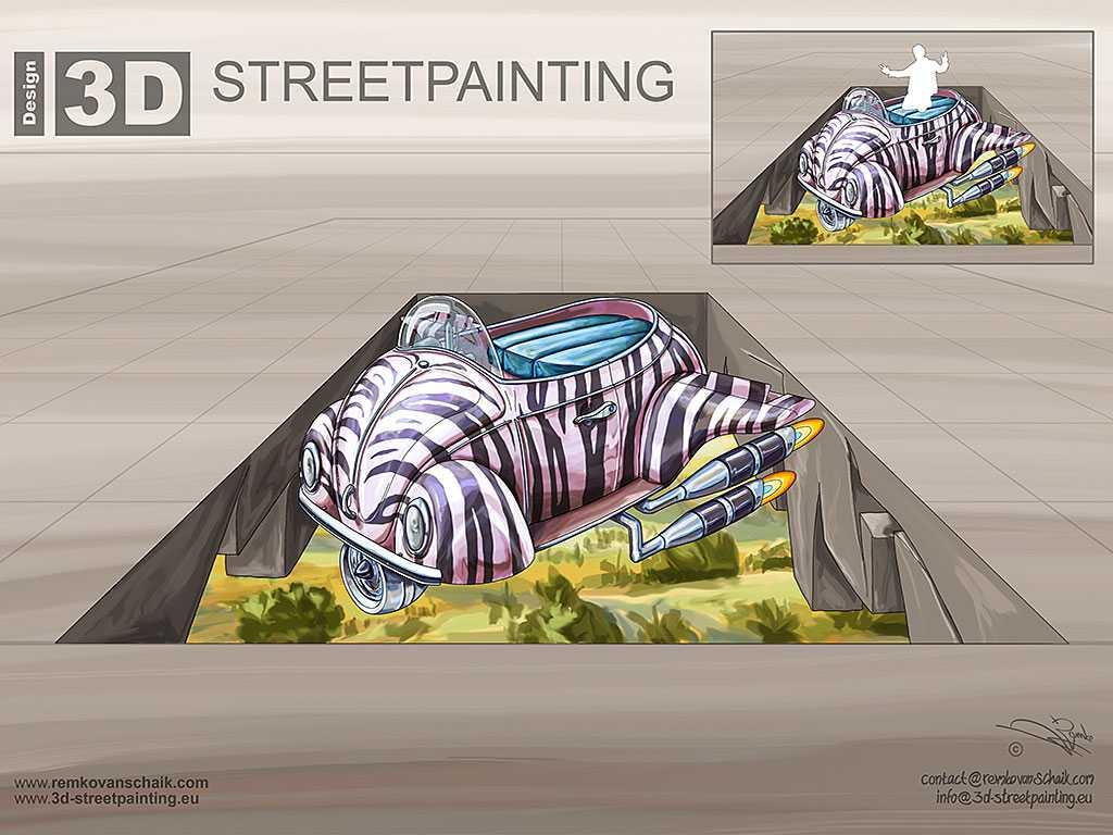 3D Streetpainting Sketch '3D Flying Safari'