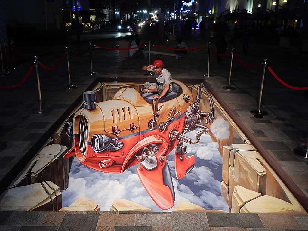 3d-streetpainting-3d-flying-car-2-remko-van-schaik-3d-streetart-festival-dubai-canvas-2016-1