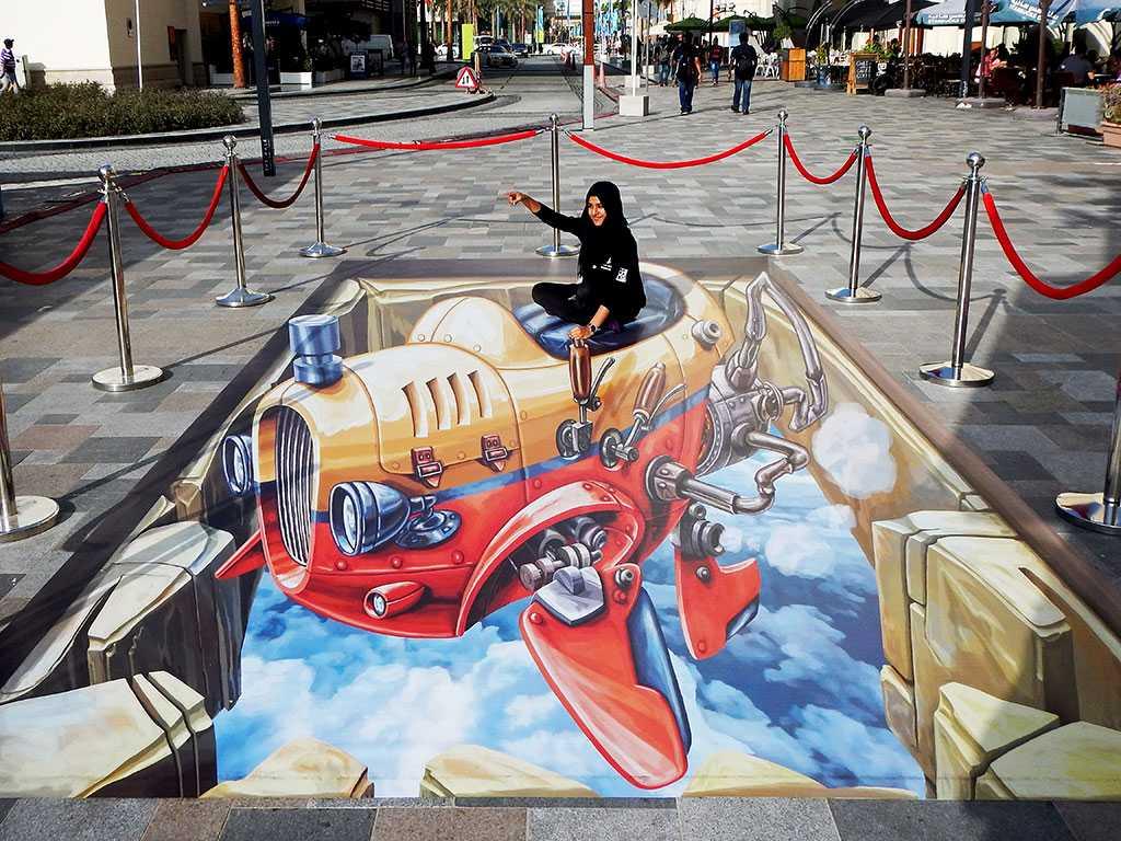 """3D Streetpainting """"3D Flying Car"""" 2, Dubai"""