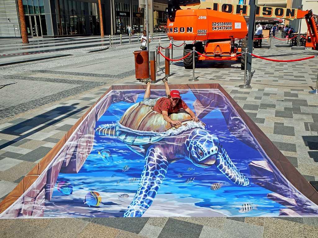 3D Streetpainting '3D Turtle 2' Dubai Canvas