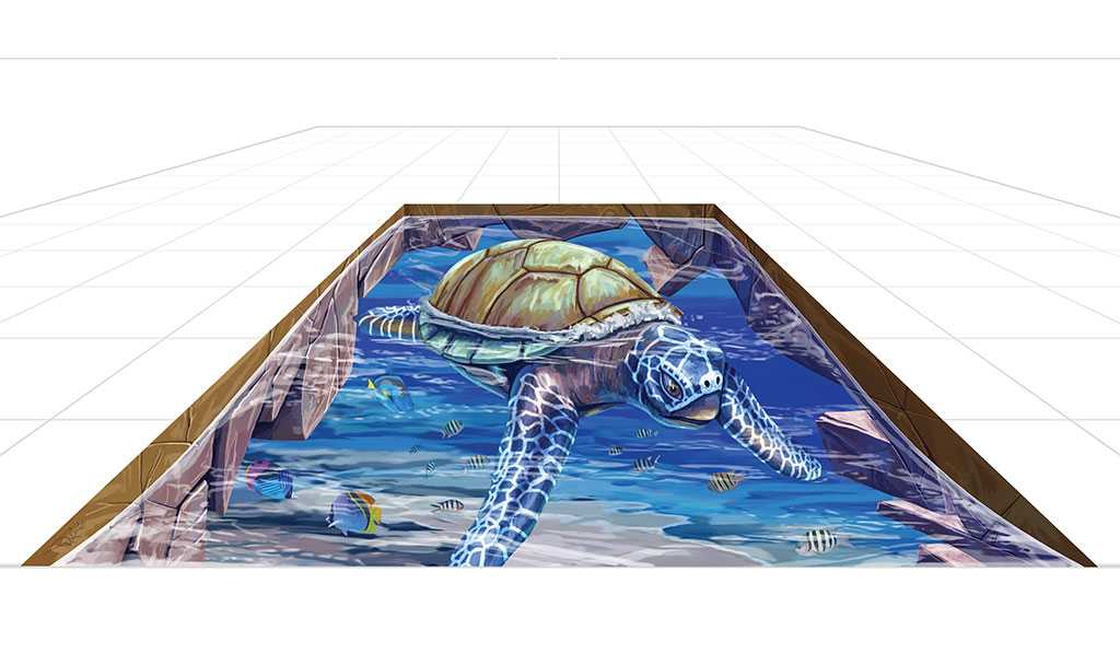 3D Streetpainting Sketch '3D Turtle'