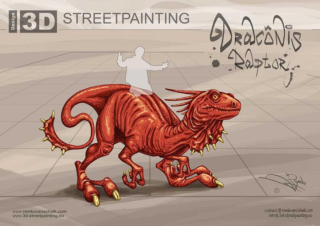 3D Streetpainting '3D Draconis Raptor' made by Remko van Schaik at 3D Streetart festival Illusions of Riga in Riga, Latvia.