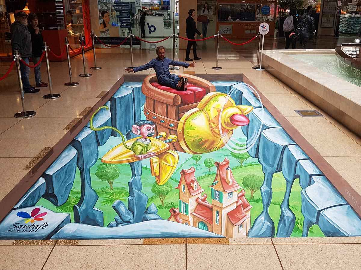 3D Streetpainting '3D Flying Coach' Santafé shoppingmall, Bogota, Colombia