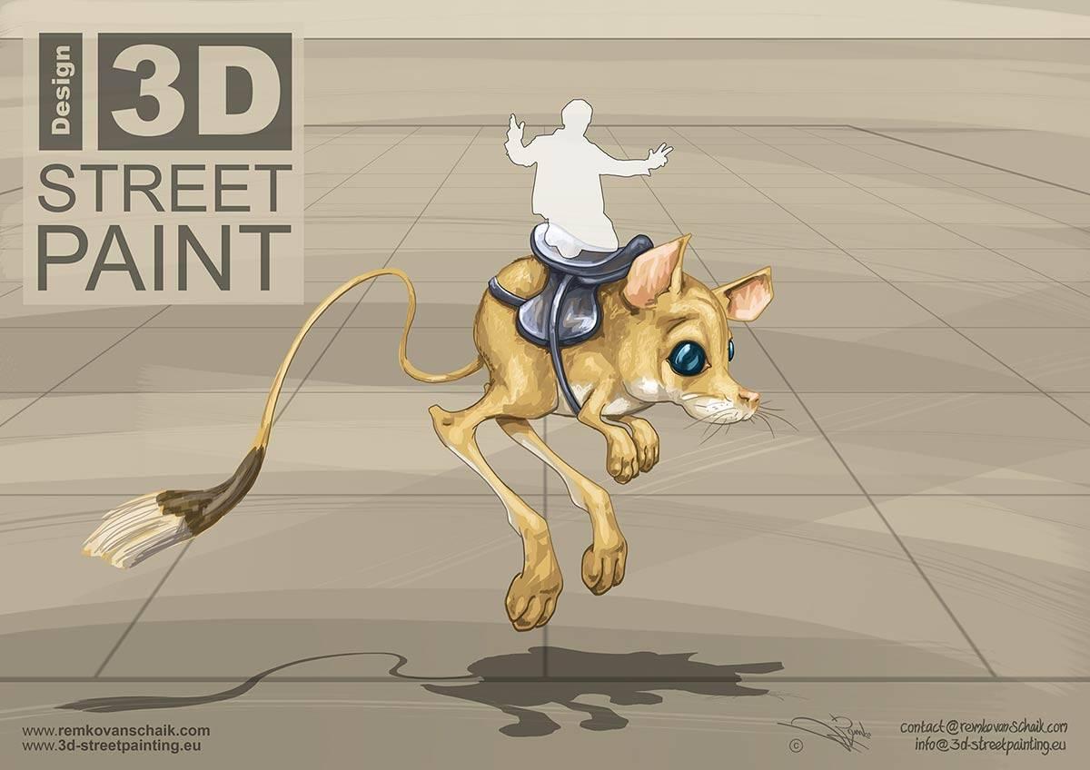 3D Streetpainting Sketch 3D Springmuis (Gerbil)