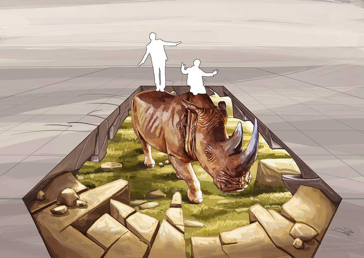 "3D Streetpainting Sketch ""3D Rhino WWF"" #STOPWILDLIFECRIME"