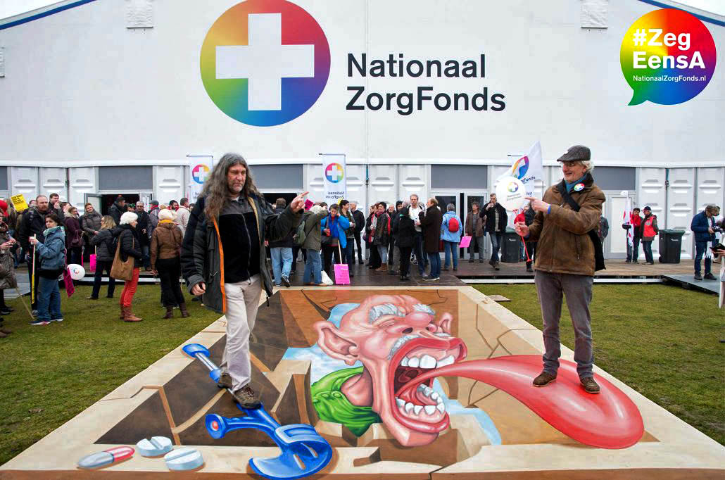 3D Streetpainting for Nationaal Zorgfonds at Nationaal Zorgdebat, Malieveld, The Hague