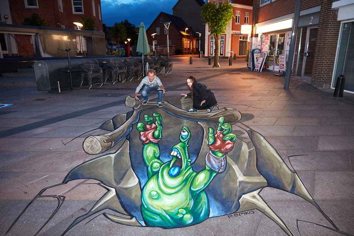 3D Streetpainting International Street Art Festival Brande, Denmark