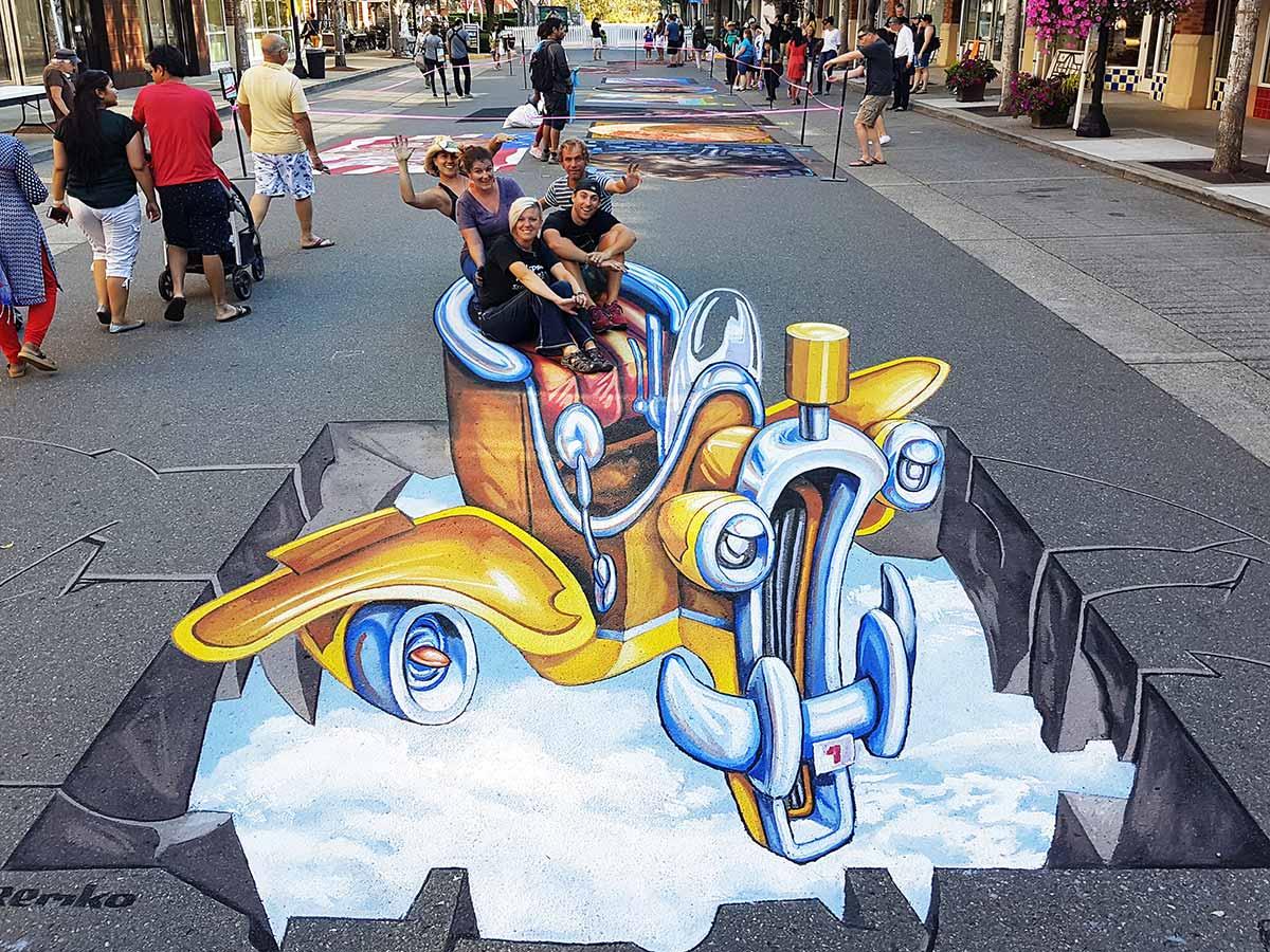 3D Streetpainting at PNW Chalk Festival, Redmond USA