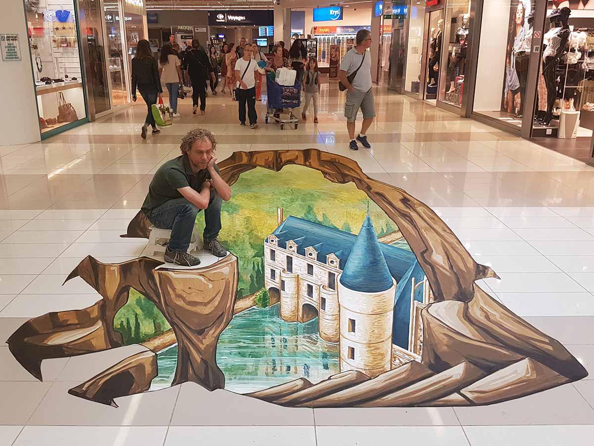 3D Streetpainting at 'Centre Commercial Les Atlantes', Tours, France