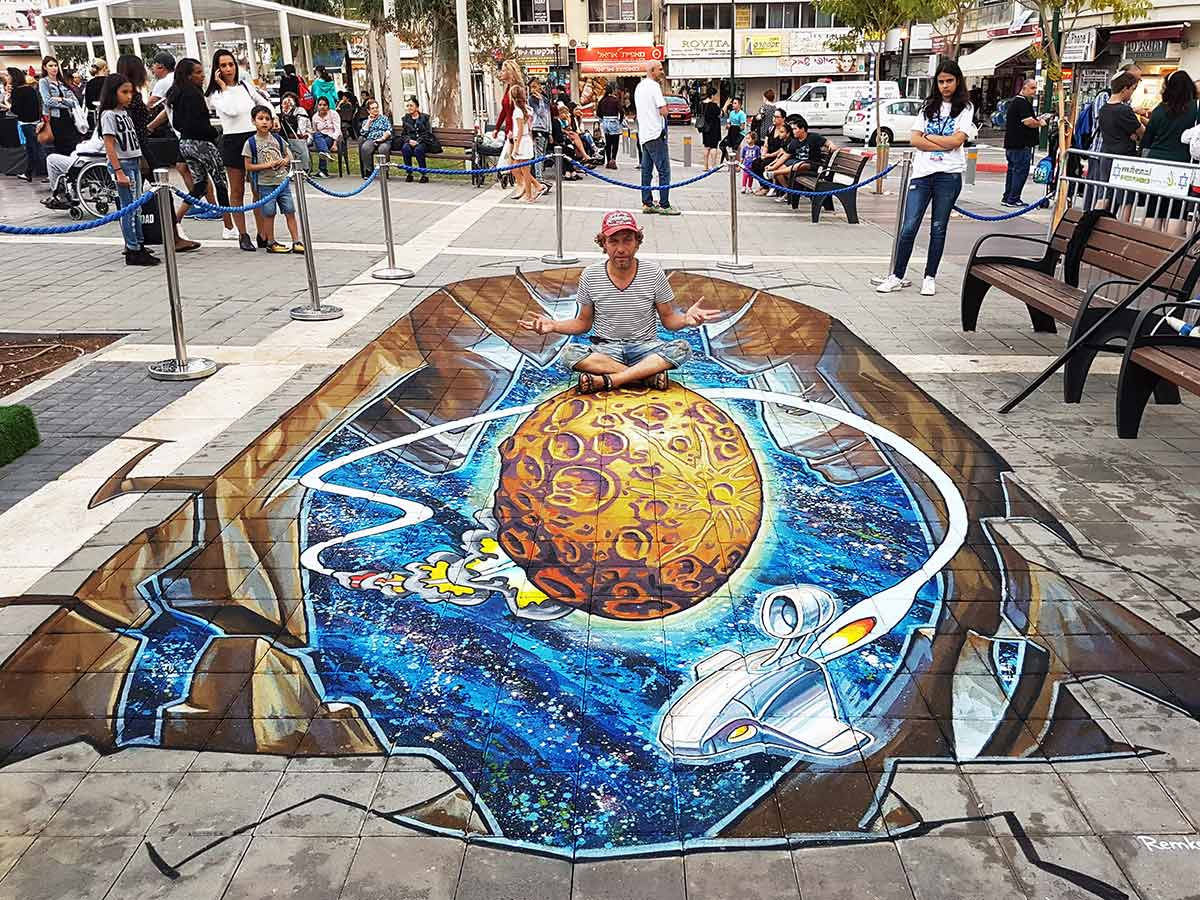 3D Streetpainting at Streetart Festival, Afula, Israël 2