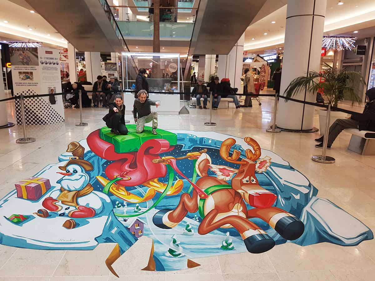3D Streetpainting at Mériadeck shoppingmall, Bordeaux, France