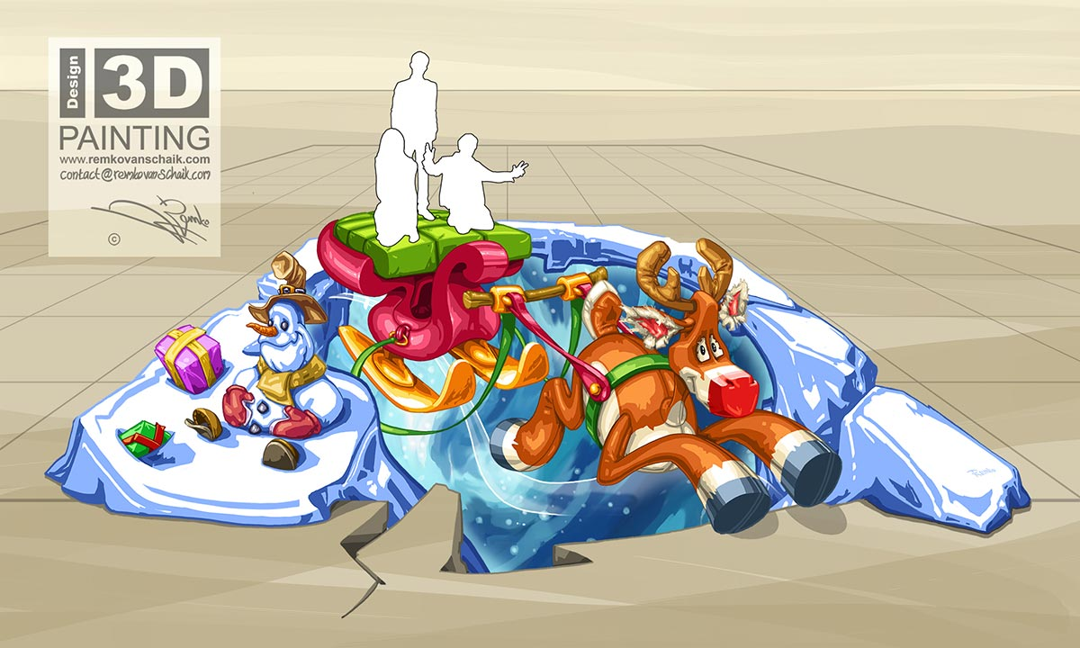 3D Streetpainting Sketch '3D Christmas Scene'