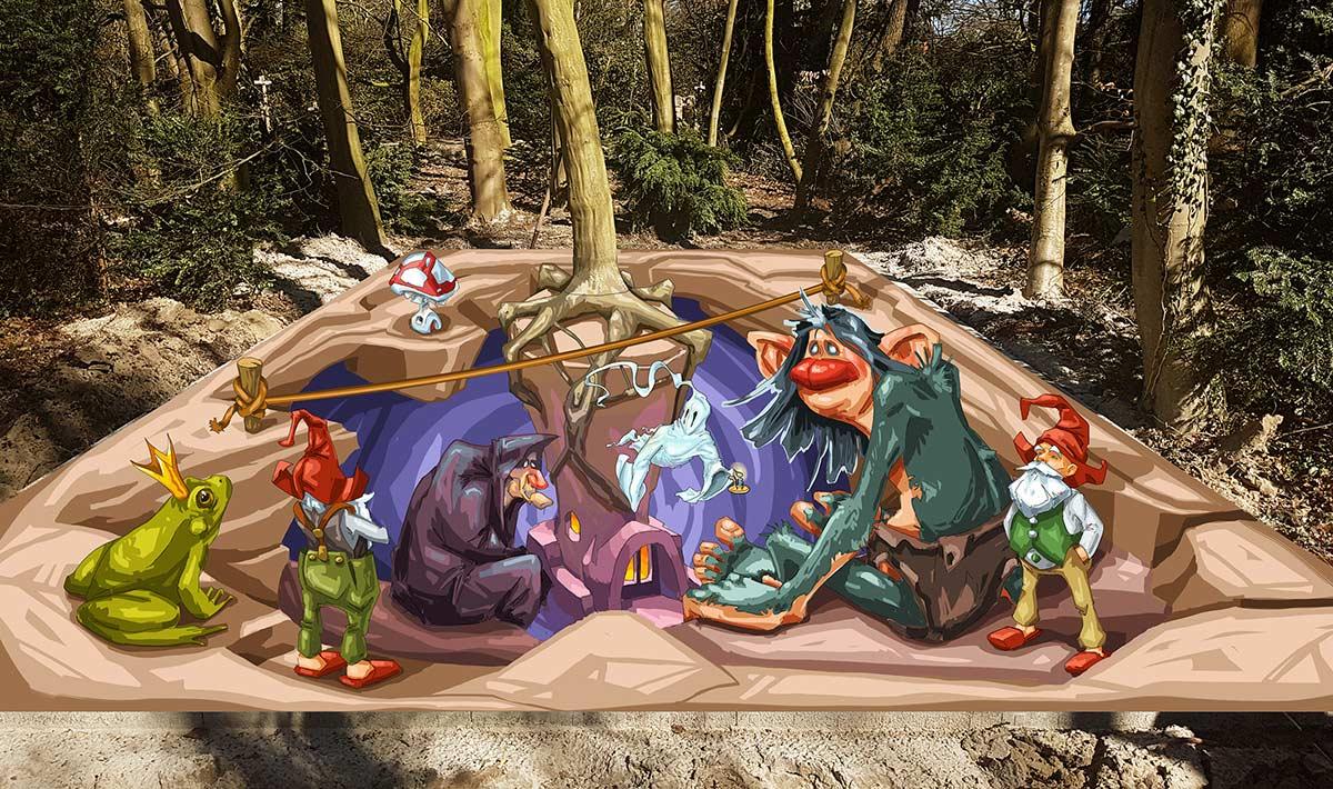 3D Street Painting Sketch '3D Fairy Tale' for Castle Warmelo