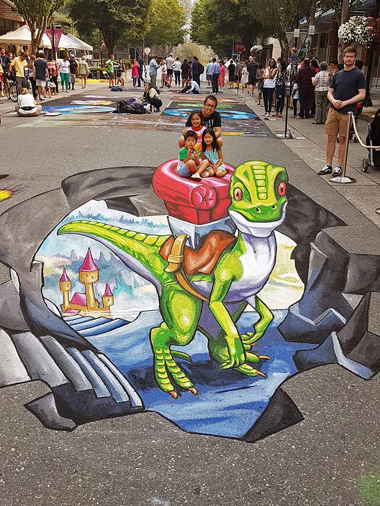 3D Streetpainting at PNW-Chalkfestival, Redmond USA 2018
