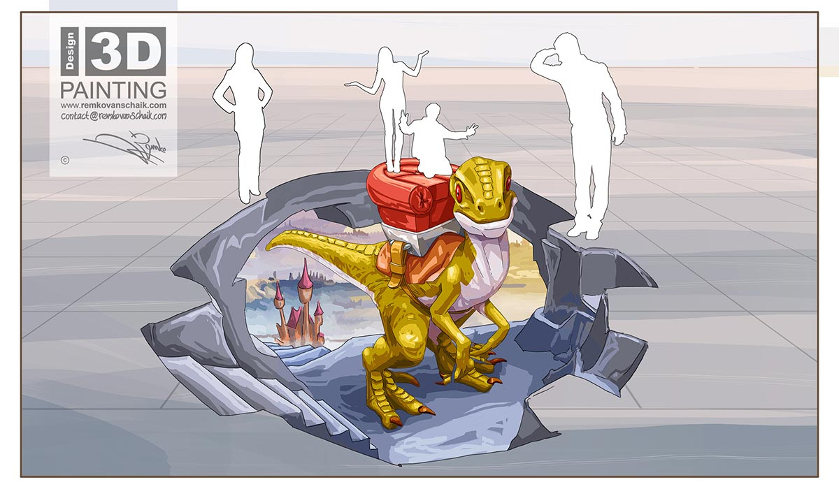 3D Streetpainting Sketch '3D Dino Ride'