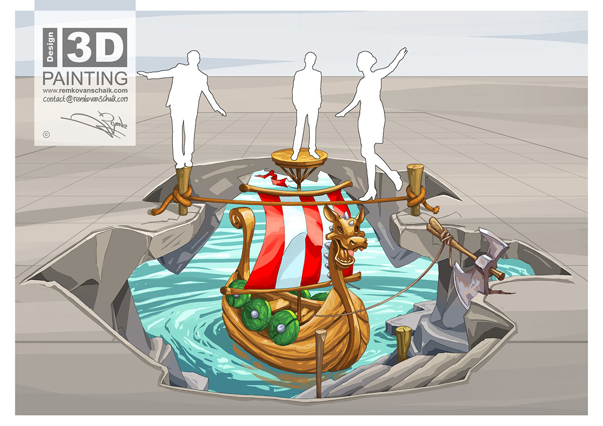 3D Streetpainting Sketch '3D Viking Ship' designed by Remko van Schaik for Shopping Mall Citti-Park