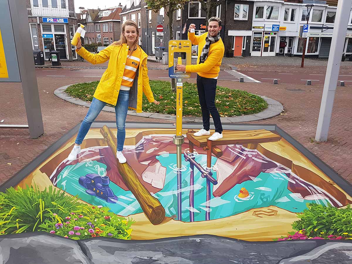 3D Streetpainting at Alkmaar's railway station, The Netherlands