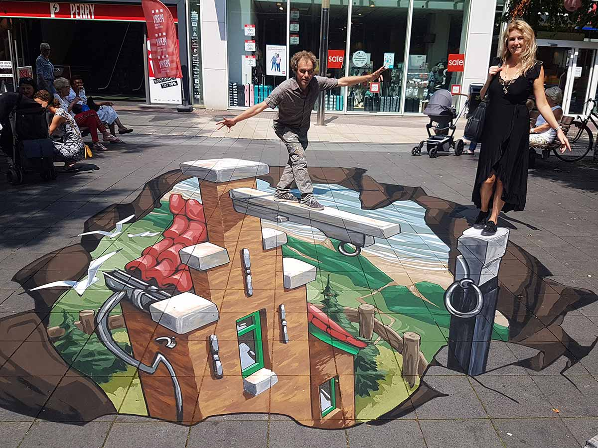 3D Streetpainting at Shopping Centre In de Bogaard, Rijswijk