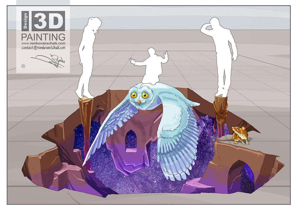 3D Streetpainting Sketch '3D Owl'
