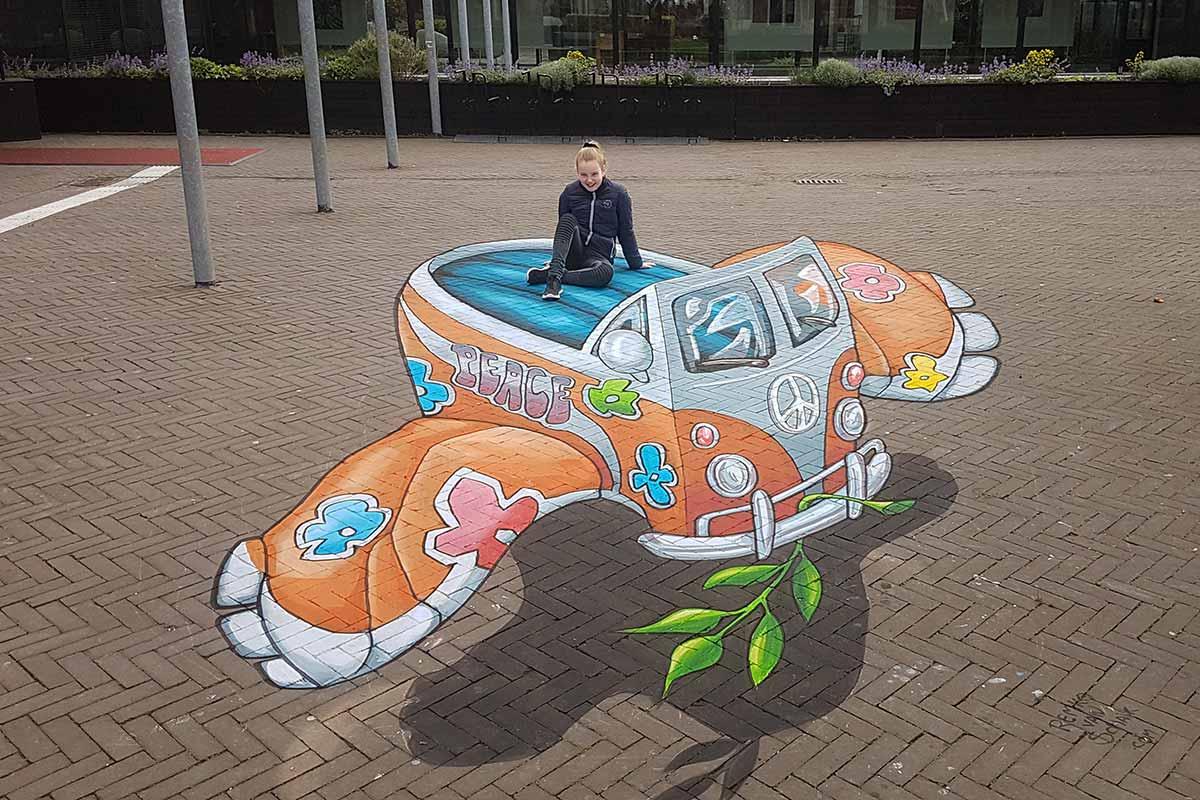 3D Streetpainting at Hi Streetart Festival, Hoogeveen, Netherlands