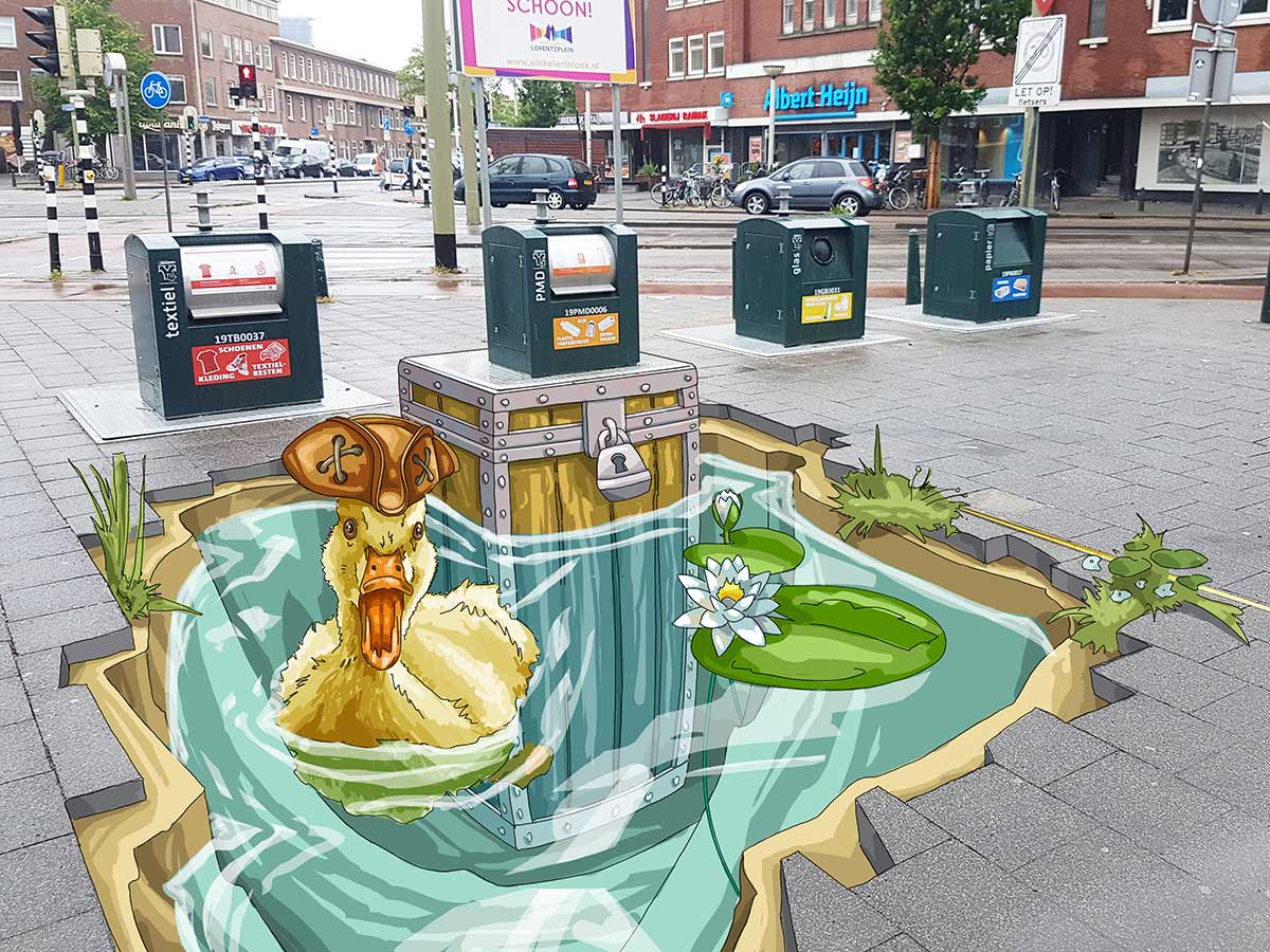 3D Streetpainting Sketch '3D TrashUre Hunt'